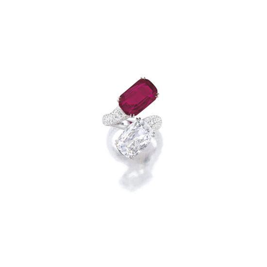 Кольцо с рубином и бриллиантом,  Больше Изображение 3