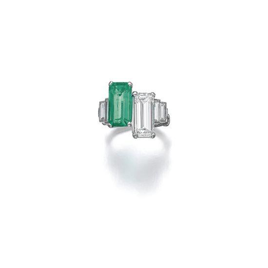 Кольцо с изумрудом и бриллиантом в стиле ар-деко,  Больше Изображение 2