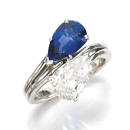 Кольцо с бриллиантом и сапфиром, Больше Изображение 1