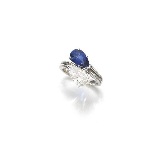 Кольцо с бриллиантом и сапфиром,  Больше Изображение 2