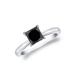 Кольцо из белого золота с черным бриллиантом квадрат