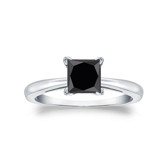 Кольцо из белого золота с черным бриллиантом квадрат,  Больше Изображение 4