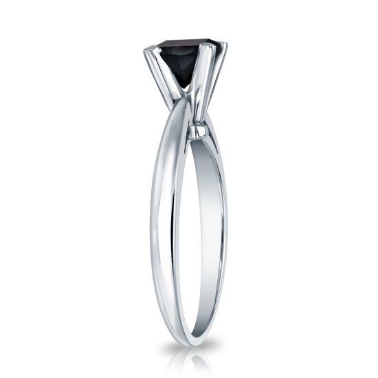 Кольцо из белого золота с черным бриллиантом квадрат,  Больше Изображение 3