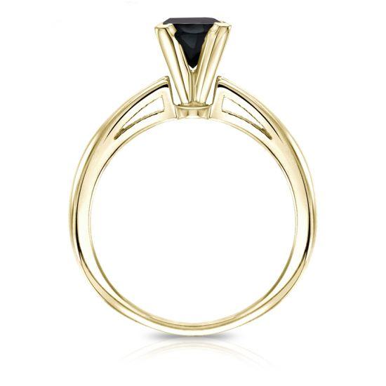 Кольцо из золота с квадратным черным бриллиантом,  Больше Изображение 2