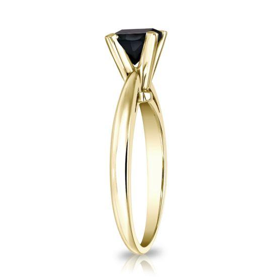 Кольцо из золота с квадратным черным бриллиантом,  Больше Изображение 3