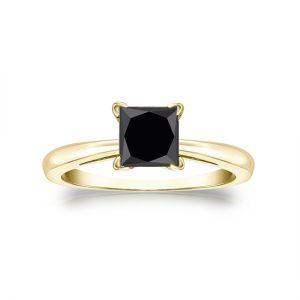 Кольцо из золота с квадратным черным бриллиантом