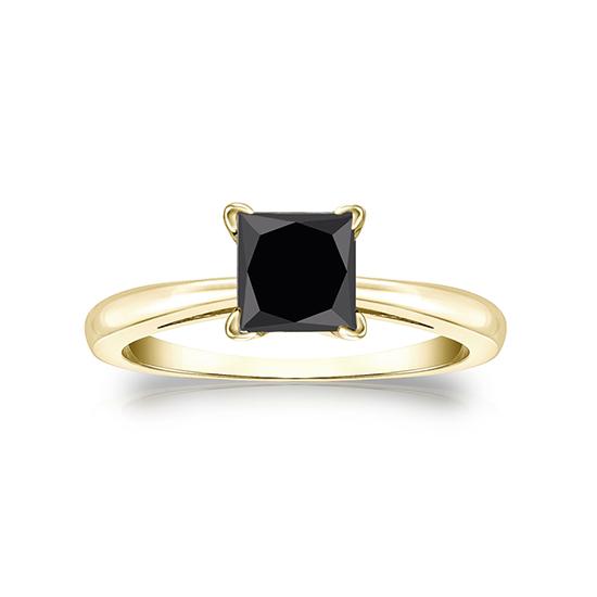 Кольцо из золота с квадратным черным бриллиантом, Больше Изображение 1