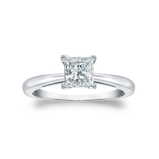 Кольцо с квадратным белым бриллиантом Принцесса, Больше Изображение 1