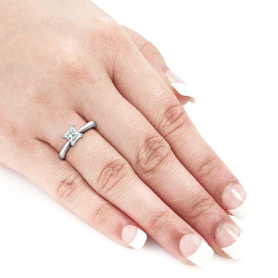 Кольцо с квадратным белым бриллиантом Принцесса,  Больше Изображение 3