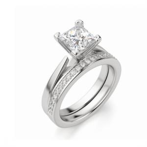 Кольцо с квадратным бриллиантом Принцесса в стиле футуризм