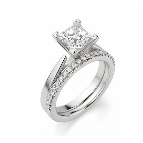Кольцо с квадратным бриллиантом,  Больше Изображение 2