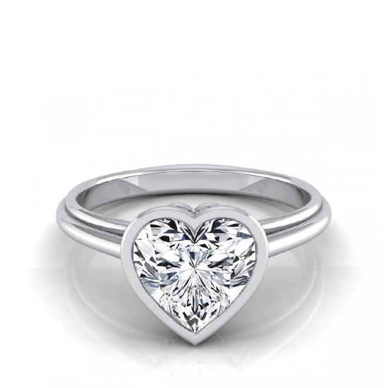 Кольцо с белым бриллиантом в форме сердца, Больше Изображение 1