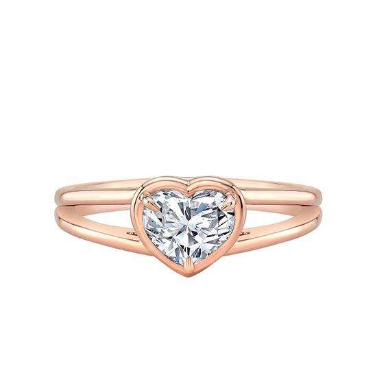 Кольцо раздвоенное с бриллиантом огранки Сердце, Больше Изображение 1