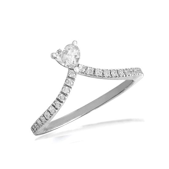 Кольцо с бриллиантом Сердце и дорожкой, Больше Изображение 1
