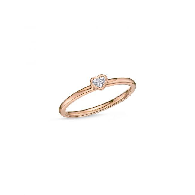 Кольцо с маленьким бриллиантом Сердечко