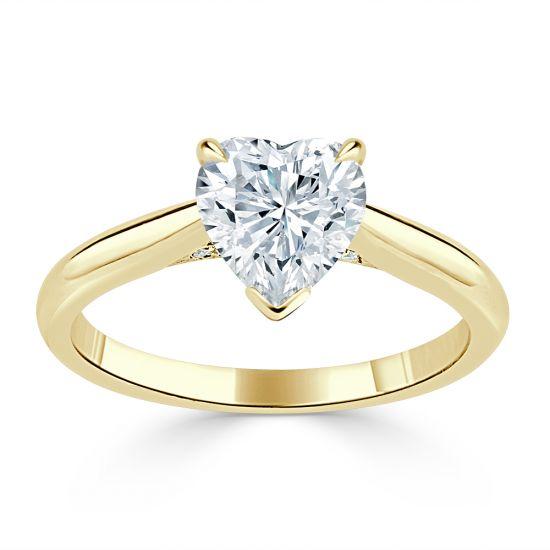 Кольцо с бриллиантом в форме сердца из золота,  Больше Изображение 2