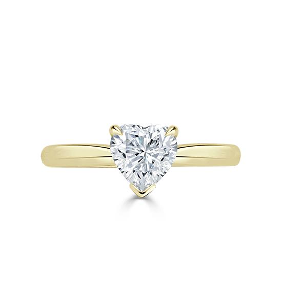 Кольцо с бриллиантом в форме сердца из золота, Больше Изображение 1