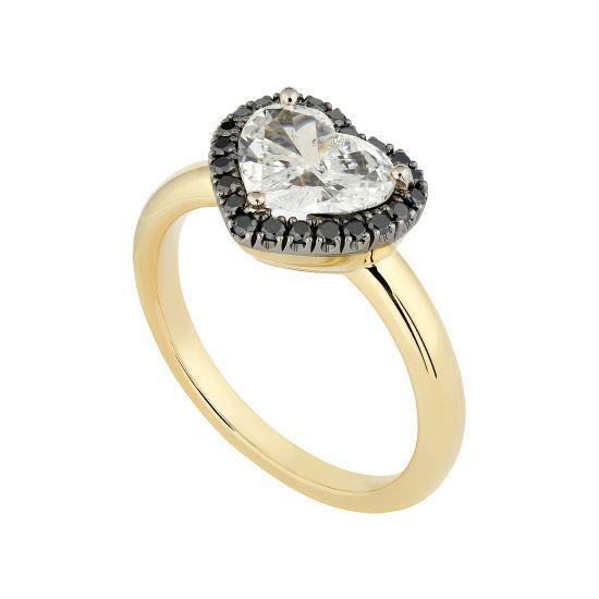 Кольцо с белым бриллиантом в форме сердца в ореоле,  Больше Изображение 2