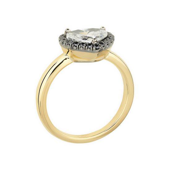 Кольцо с белым бриллиантом в форме сердца в ореоле,  Больше Изображение 3