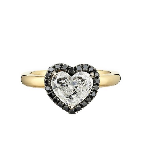 Кольцо с белым бриллиантом в форме сердца в ореоле, Больше Изображение 1