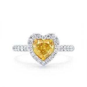 Кольцо с желтым бриллиантом сердце в обсыпке