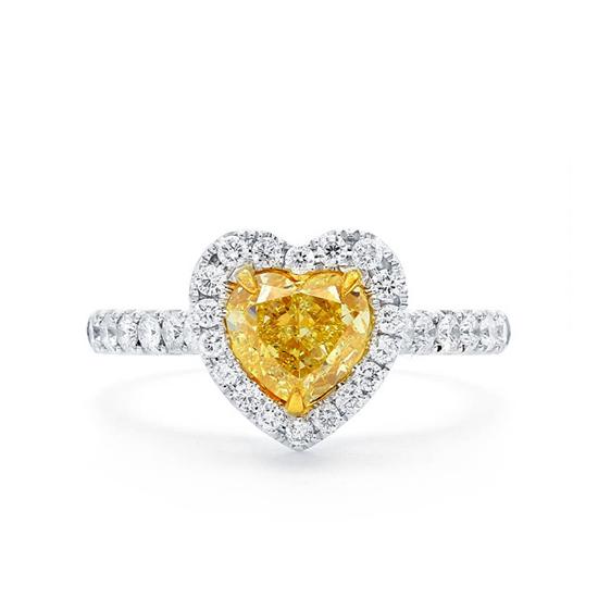 Кольцо с желтым бриллиантом сердце в обсыпке, Больше Изображение 1