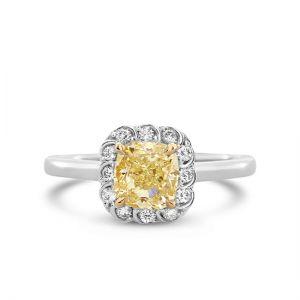 Кольцо с желтым бриллиантом Кушон 1 карат