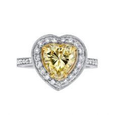 Кольцо с желтым бриллиантом Сердце