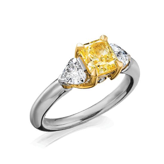 Кольцо с желтым бриллиантом и триллионами, Больше Изображение 1
