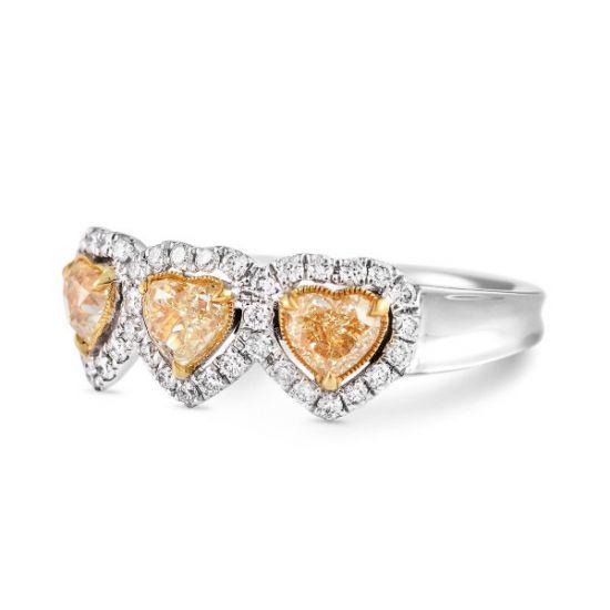 Кольцо с 3 желтыми бриллиантами Сердечки,  Больше Изображение 2