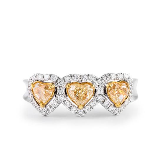 Кольцо с 3 желтыми бриллиантами Сердечки, Больше Изображение 1