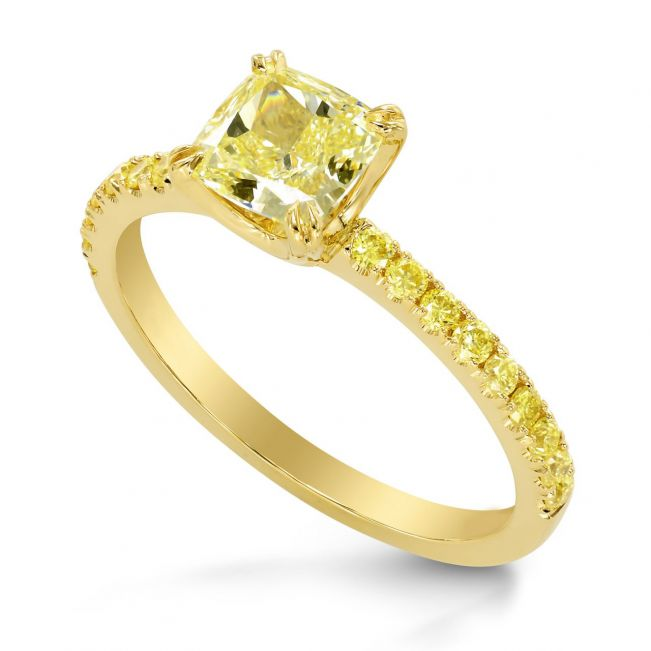 Кольцо с желтыми бриллиантами - Фото 1