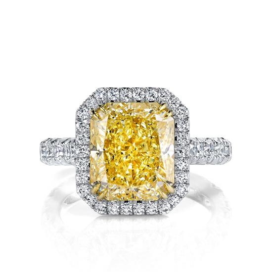 Кольцо с желтым бриллиантом в паве, Больше Изображение 1