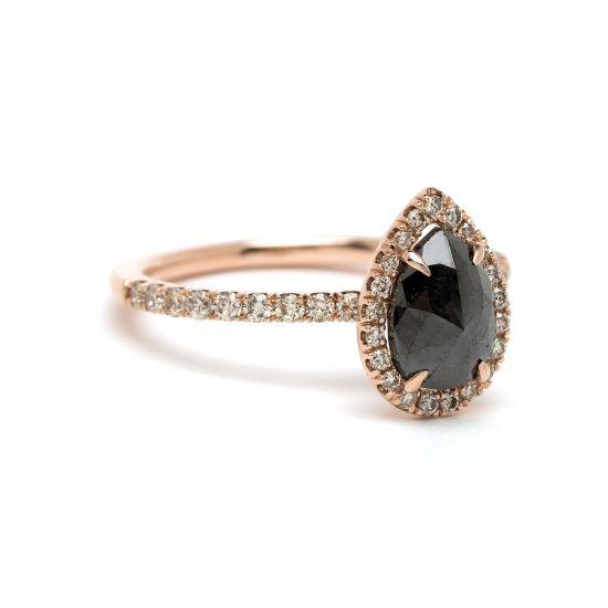 Кольцо с черным бриллиантом огранки груша,  Больше Изображение 2