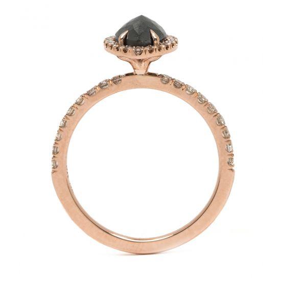 Кольцо с черным бриллиантом огранки груша,  Больше Изображение 3