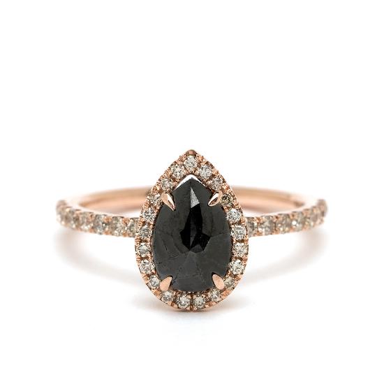 Кольцо с черным бриллиантом огранки груша, Больше Изображение 1