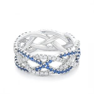 Плетеное кольцо с бриллиантами и сапфирами