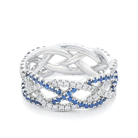 Плетеное кольцо с бриллиантами и сапфирами, Больше Изображение 1