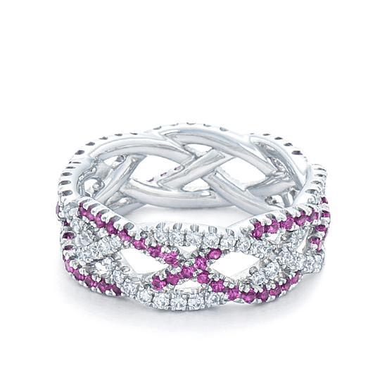 Плетеное кольцо с бриллиантами и розовыми сапфирами, Больше Изображение 1