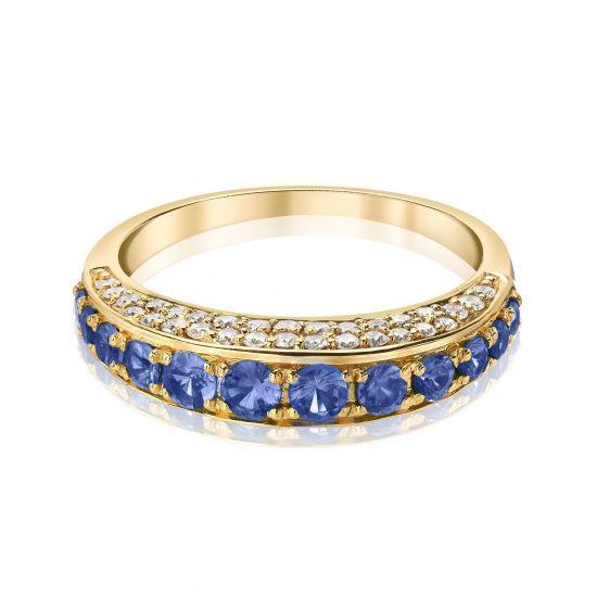 Кольцо с сапфирами и бриллиантами по сторонам,  Больше Изображение 2