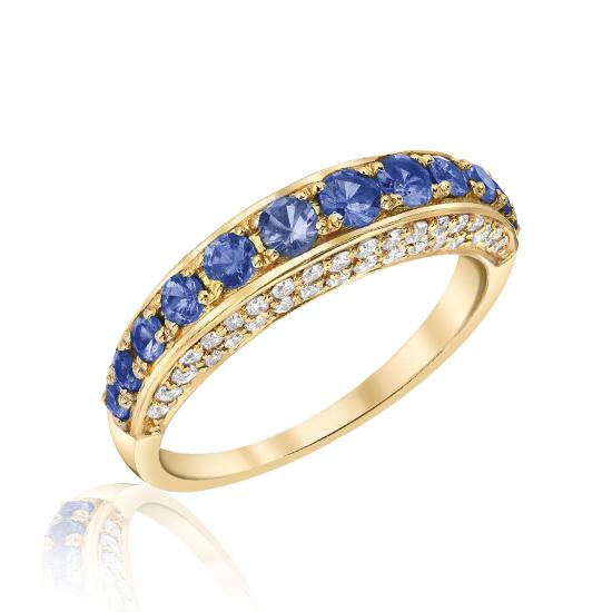 Кольцо с сапфирами и бриллиантами по сторонам, Больше Изображение 1