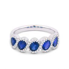 Кольцо с 5 сапфирами и бриллиантами