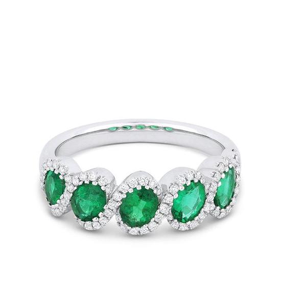 Кольцо с 5 овальными изумрудами и бриллиантами, Больше Изображение 1