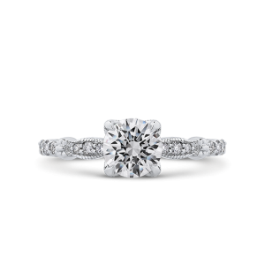 Винтажное кольцо с круглым белым бриллиантом