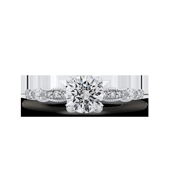 Винтажное кольцо с круглым белым бриллиантом, Больше Изображение 1