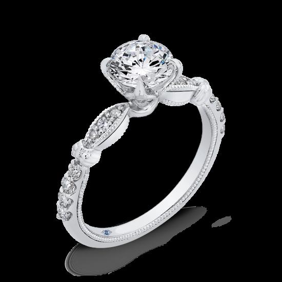 Винтажное кольцо с круглым белым бриллиантом,  Больше Изображение 2