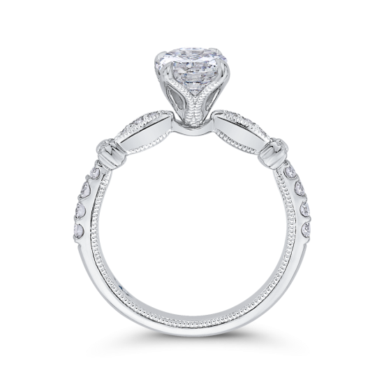 Винтажное кольцо с круглым белым бриллиантом,  Больше Изображение 4