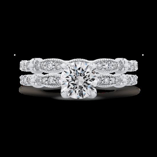 Винтажное кольцо с круглым белым бриллиантом,  Больше Изображение 5