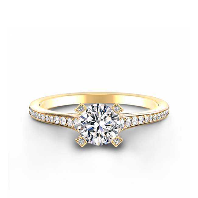 Элегантное кольцо с круглым белым бриллиантом