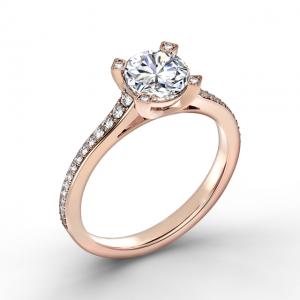 Элегантное кольцо с круглым бриллиантом